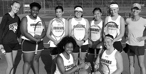 CCC Tennis Team in Black and White